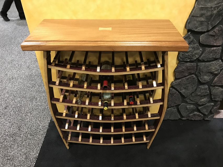 Wine Barrel Stave 40 Bottle Wine Rack With Mohogony Top